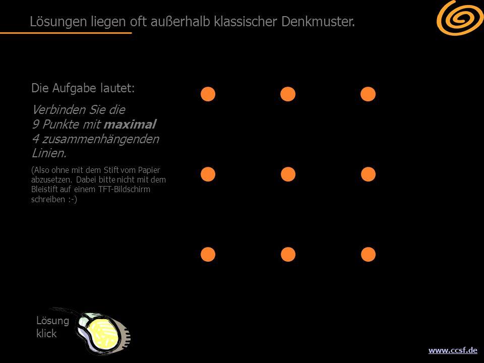 www.ccsf.de Die Aufgabe lautet: Verbinden Sie die 9 Punkte mit maximal 4 zusammenhängenden Linien. (Also ohne mit dem Stift vom Papier abzusetzen. Dab