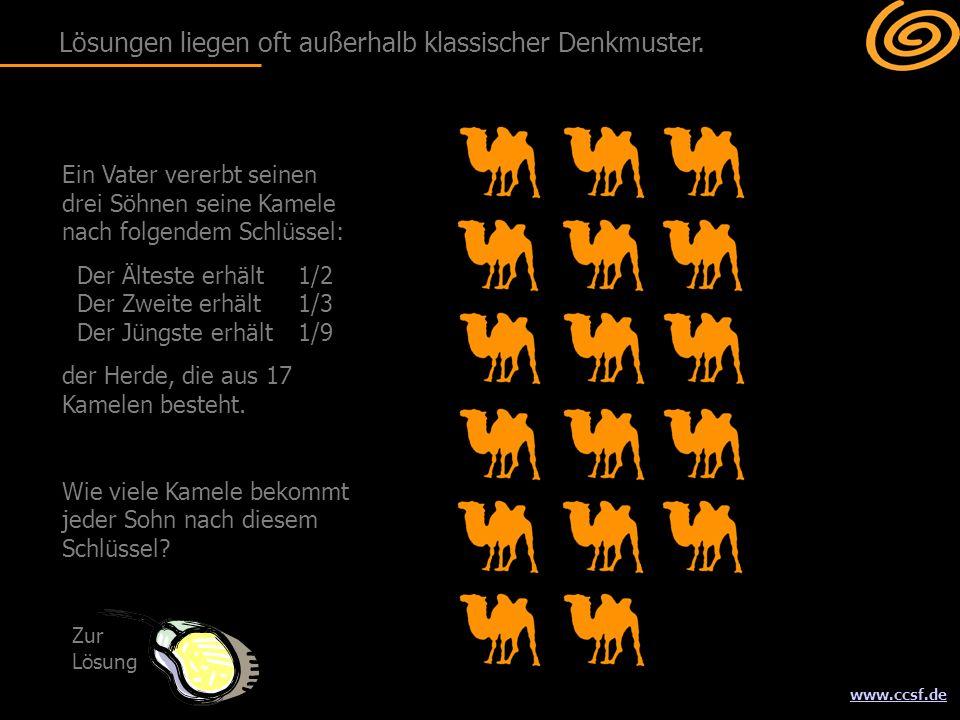 www.ccsf.de Ein Vater vererbt seinen drei Söhnen seine Kamele nach folgendem Schlüssel: Der Älteste erhält 1/2 Der Zweite erhält1/3 Der Jüngste erhält