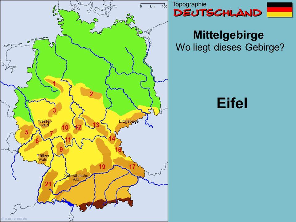 Mittelgebirge 1 2 3 5 6 7 8 9 10 11 12 13 14 16 1719 21 Wo liegt dieses Gebirge? Pfälzer Wald Schwäbische Alb Wester- wald Erzgebirge