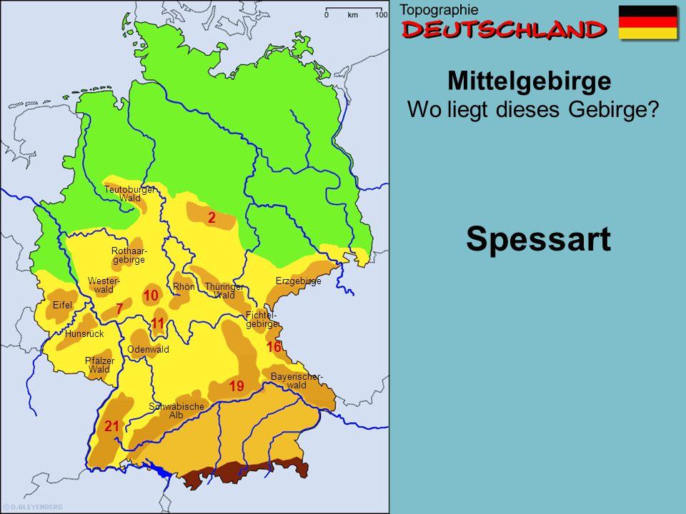 Mittelgebirge 2 7 10 11 13 16 19 21 Wo liegt dieses Gebirge? Schwäbische Alb Wester- wald Erzgebirge Pfälzer Wald Eifel Thüringer Wald Odenwald Fichte