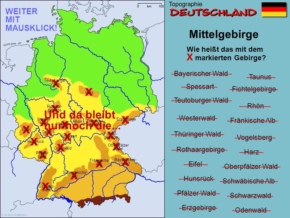 Schwäbische Alb Teutoburger Wald Harz Eifel Taunus Rothaargebirge Westerwald Hunsrück Vogelsberg Rhön Spessart Fichtelgebirge Thüringer Wald Oberpfälzer Wald Bayerischer Wald Fränkische Alb Mittelgebirge x Wie heißt das mit dem X markierten Gebirge.