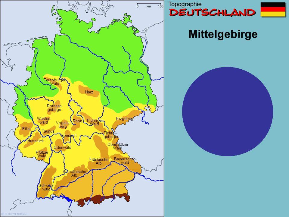 Teutoburger Wald Thüringer Wald Schwarz- wald Taunus Eifel Fränkische Alb Harz Odenwald Oberpfälzer Wald Erzgebirge Spessart Rothaar- gebirge Pfälzer Wald Fichtel- gebirge Vogels- berg Wester- wald Bayerischer- wald Hunsrück Schwäbische Alb Rhön Mittelgebirge So, und jetzt fünf Sekunden zum Auswendig lernen.
