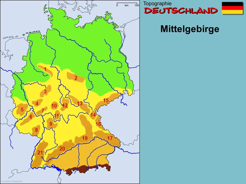 Teutoburger Wald Thüringer Wald Schwarz- wald Taunus Eifel Fränkische Alb Harz Odenwald Oberpfälzer Wald Erzgebirge Spessart Rothaar- gebirge Pfälzer