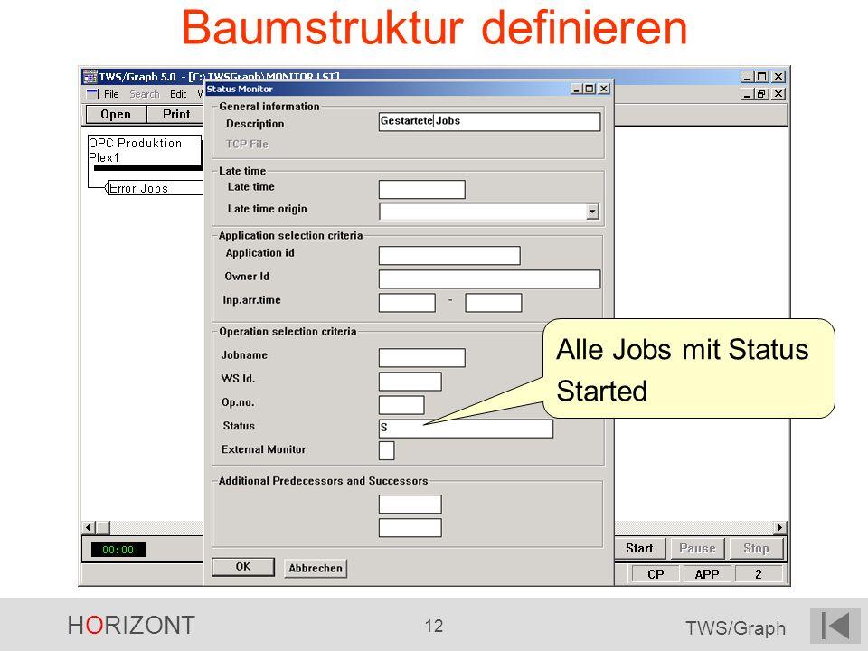 HORIZONT 12 TWS/Graph Baumstruktur definieren Alle Jobs mit Status Started