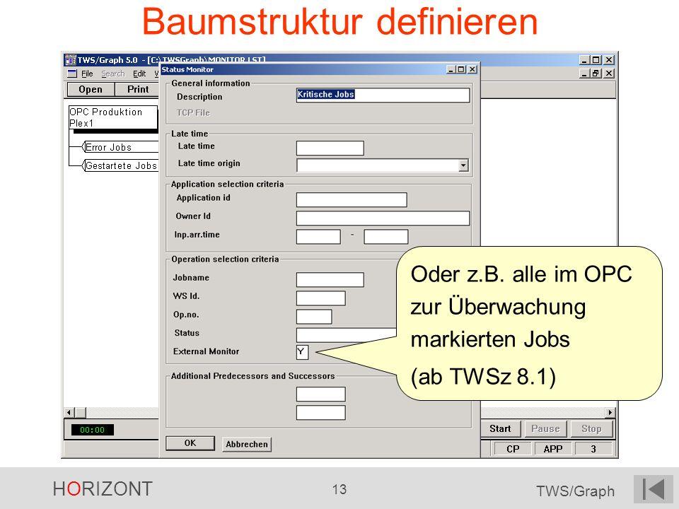 HORIZONT 13 TWS/Graph Baumstruktur definieren Oder z.B. alle im OPC zur Überwachung markierten Jobs (ab TWSz 8.1)