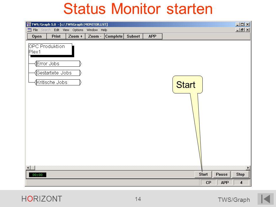 HORIZONT 14 TWS/Graph Status Monitor starten Start