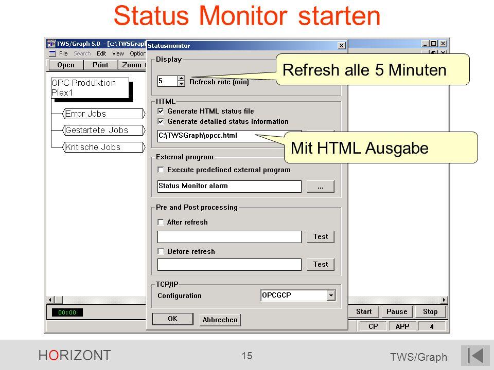 HORIZONT 15 TWS/Graph Status Monitor starten Refresh alle 5 Minuten Mit HTML Ausgabe