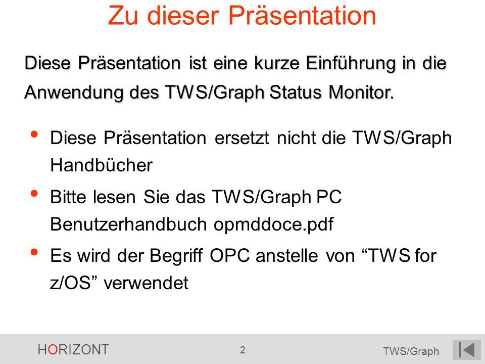 HORIZONT 2 TWS/Graph Zu dieser Präsentation Diese Präsentation ersetzt nicht die TWS/Graph Handbücher Bitte lesen Sie das TWS/Graph PC Benutzerhandbuc