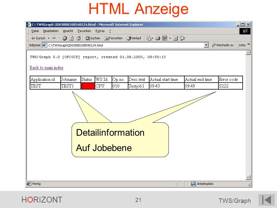 HORIZONT 21 TWS/Graph HTML Anzeige Detailinformation Auf Jobebene Detailinformation Auf Jobebene