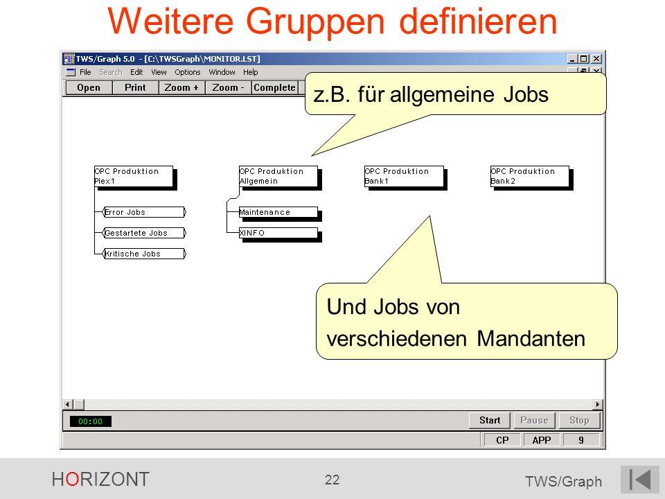 HORIZONT 22 TWS/Graph Weitere Gruppen definieren z.B. für allgemeine Jobs Und Jobs von verschiedenen Mandanten