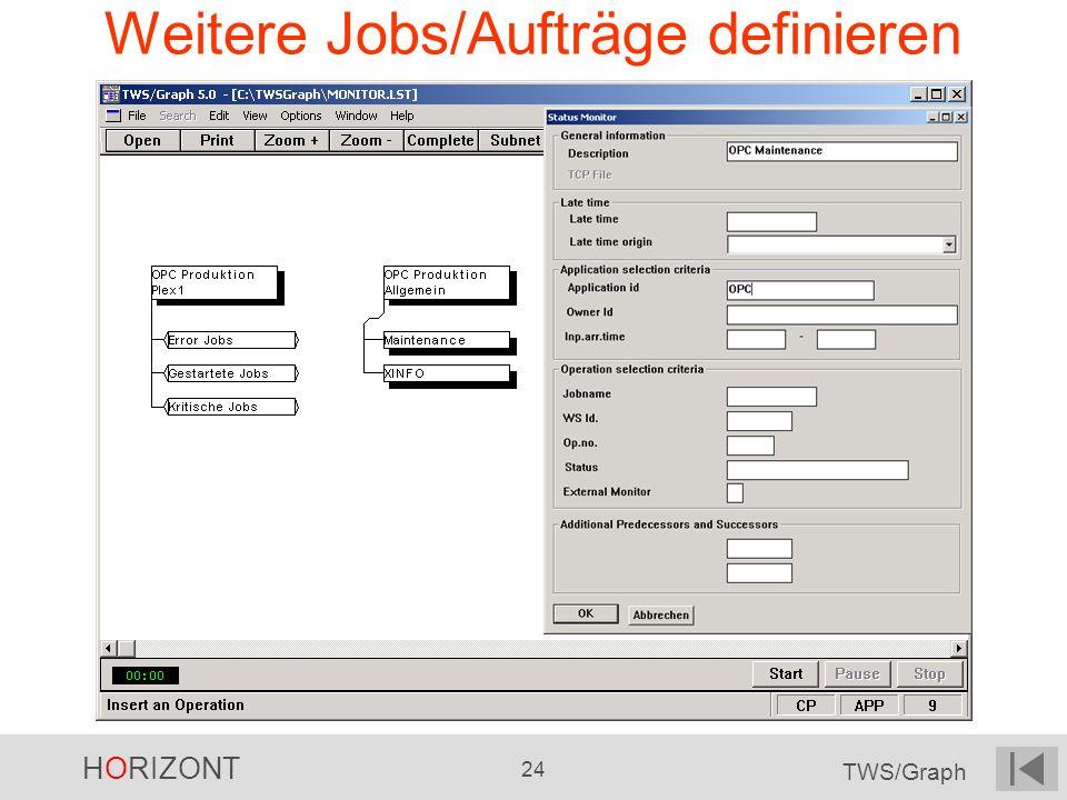 HORIZONT 24 TWS/Graph Weitere Jobs/Aufträge definieren