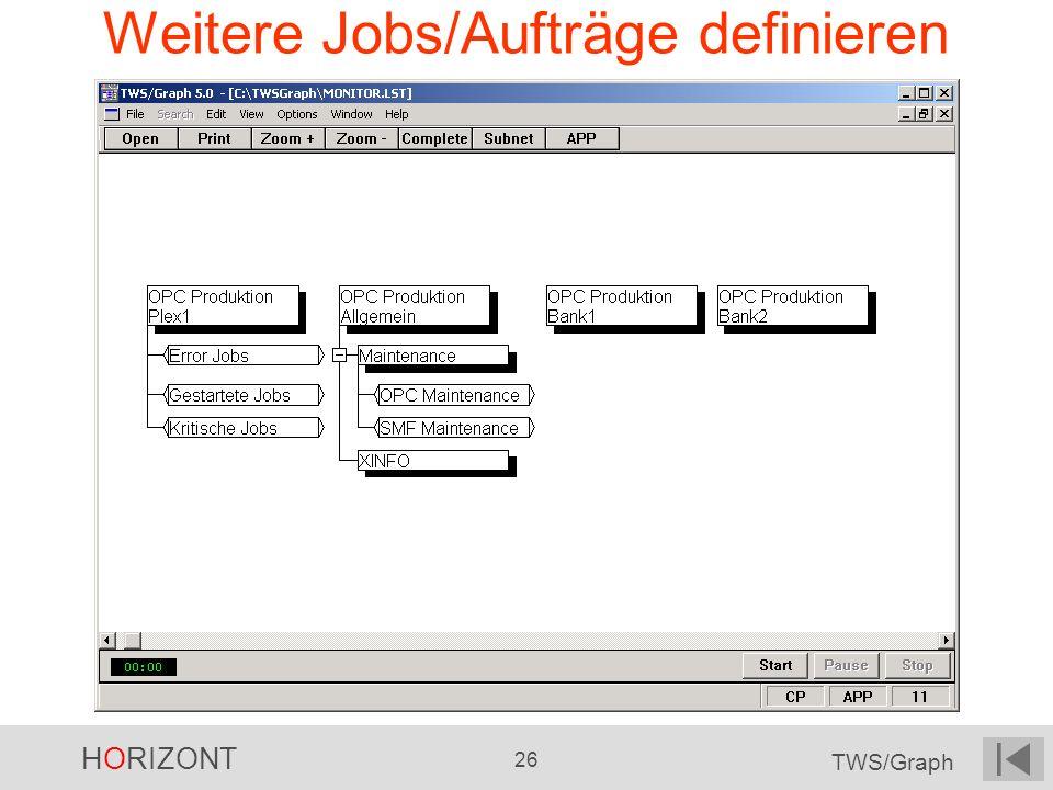 HORIZONT 26 TWS/Graph Weitere Jobs/Aufträge definieren