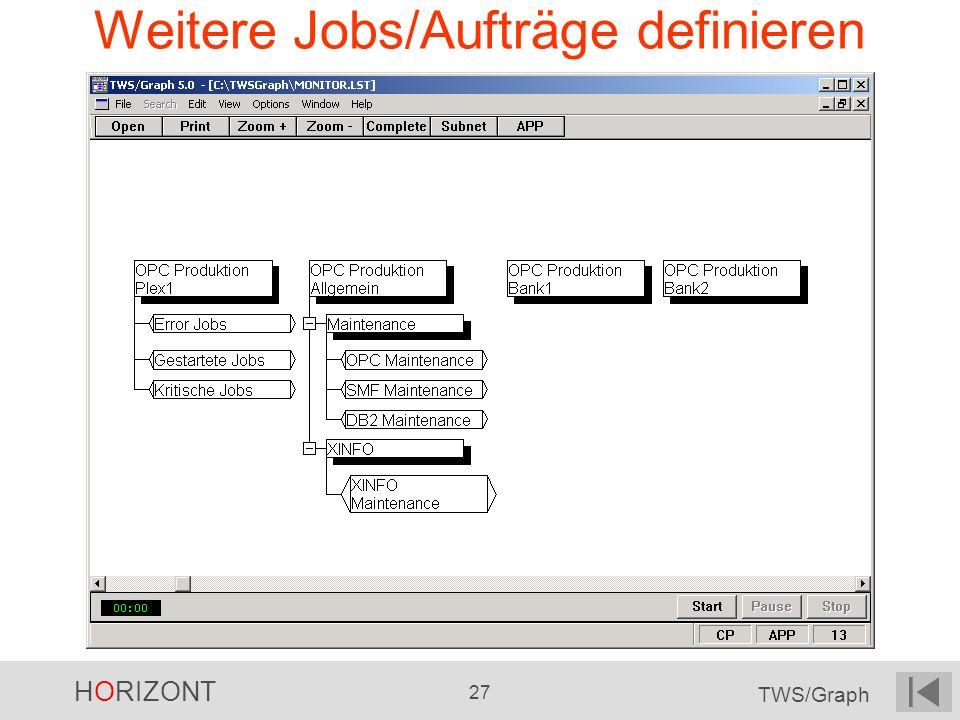 HORIZONT 27 TWS/Graph Weitere Jobs/Aufträge definieren