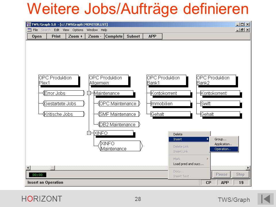 HORIZONT 28 TWS/Graph Weitere Jobs/Aufträge definieren