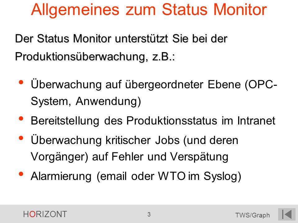 HORIZONT 3 TWS/Graph Allgemeines zum Status Monitor Überwachung auf übergeordneter Ebene (OPC- System, Anwendung) Bereitstellung des Produktionsstatus