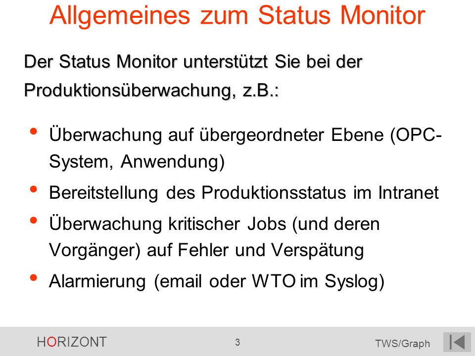 HORIZONT 34 TWS/Graph Status Monitor läuft
