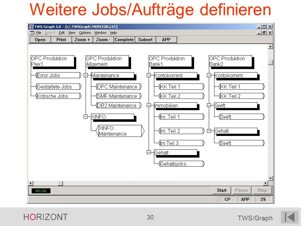 HORIZONT 30 TWS/Graph Weitere Jobs/Aufträge definieren