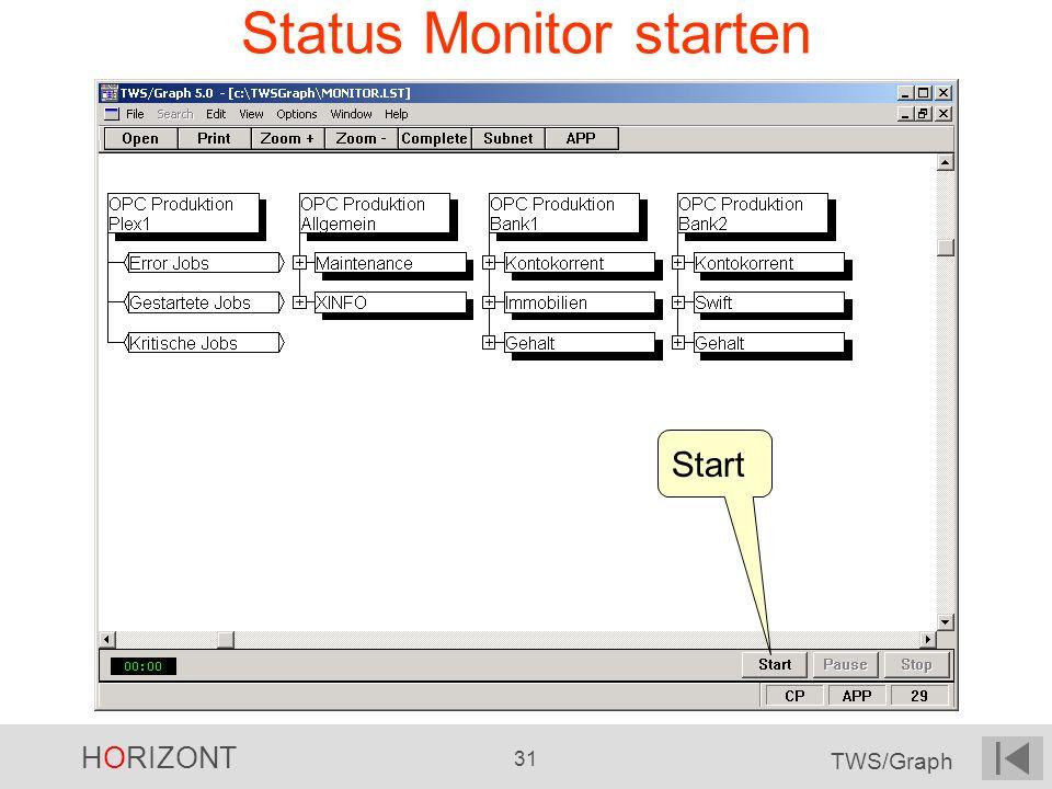 HORIZONT 31 TWS/Graph Status Monitor starten Start