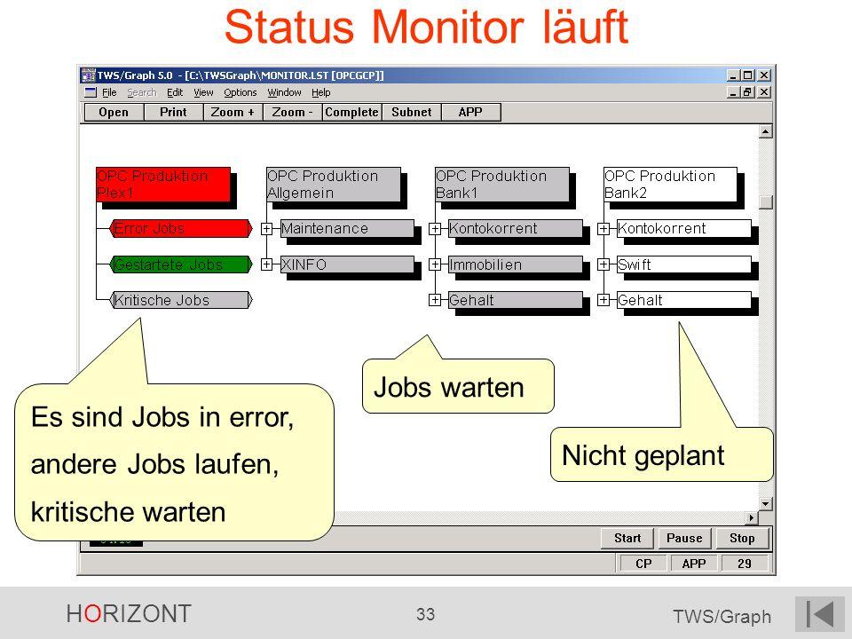 HORIZONT 33 TWS/Graph Status Monitor läuft Es sind Jobs in error, andere Jobs laufen, kritische warten Jobs warten Nicht geplant