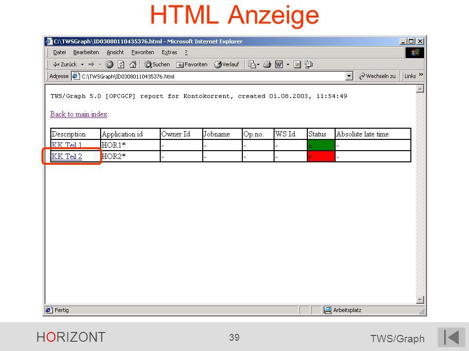 HORIZONT 39 TWS/Graph HTML Anzeige