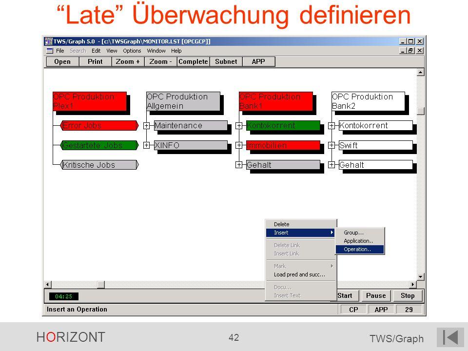 HORIZONT 42 TWS/Graph Late Überwachung definieren