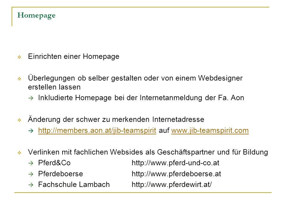 Homepage Einrichten einer Homepage Überlegungen ob selber gestalten oder von einem Webdesigner erstellen lassen Inkludierte Homepage bei der Interneta