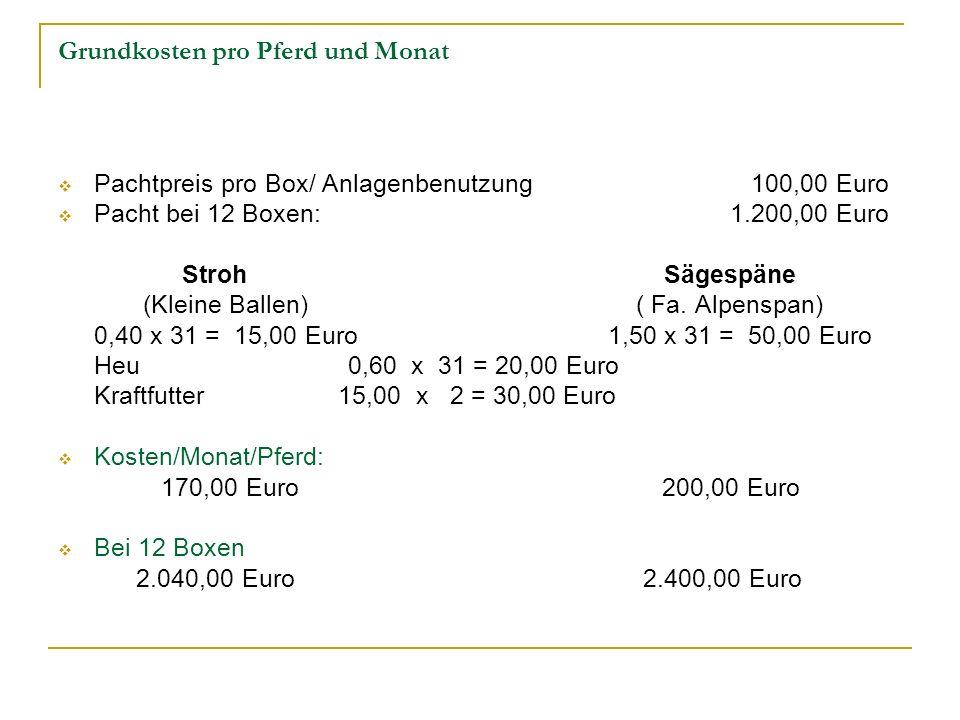 Grundkosten pro Pferd und Monat Pachtpreis pro Box/ Anlagenbenutzung 100,00 Euro Pacht bei 12 Boxen:1.200,00 Euro Stroh Sägespäne (Kleine Ballen) ( Fa