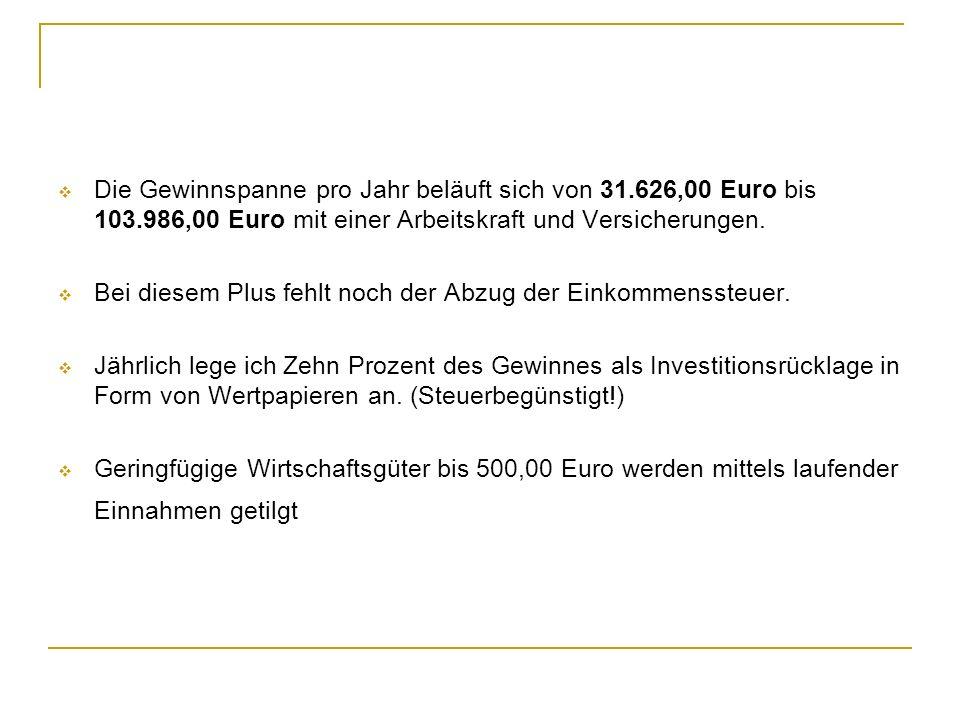Die Gewinnspanne pro Jahr beläuft sich von 31.626,00 Euro bis 103.986,00 Euro mit einer Arbeitskraft und Versicherungen. Bei diesem Plus fehlt noch de