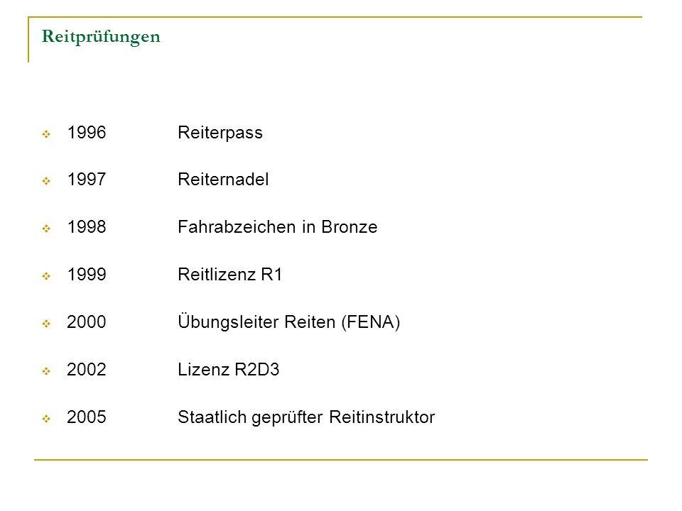 Reitprüfungen 1996Reiterpass 1997Reiternadel 1998 Fahrabzeichen in Bronze 1999Reitlizenz R1 2000Übungsleiter Reiten (FENA) 2002Lizenz R2D3 2005 Staatl