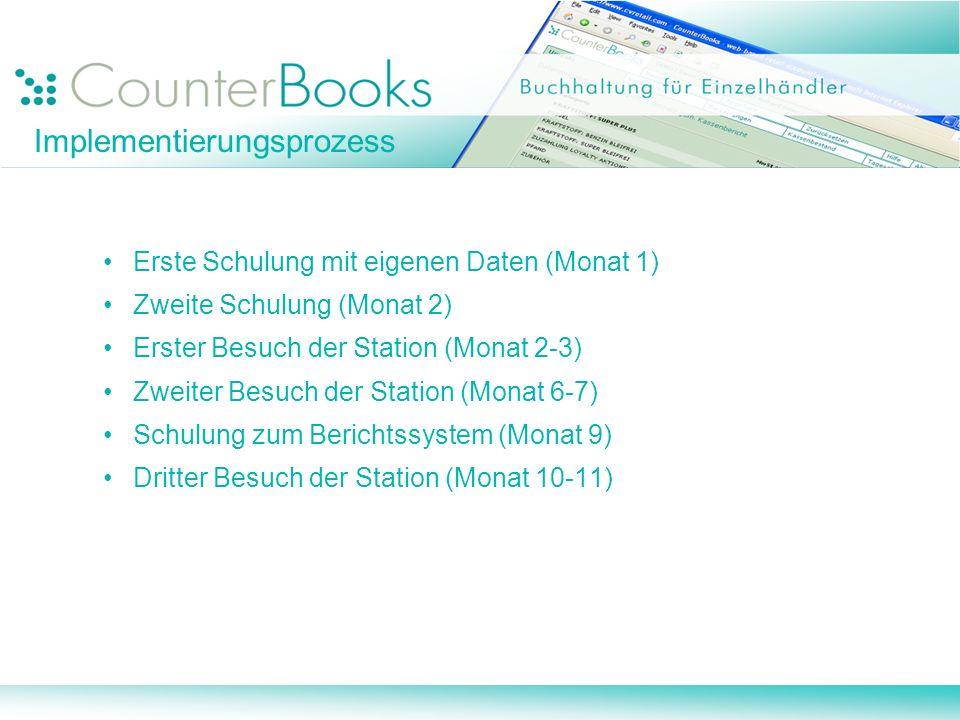 Erste Schulung mit eigenen Daten (Monat 1) Zweite Schulung (Monat 2) Erster Besuch der Station (Monat 2-3) Zweiter Besuch der Station (Monat 6-7) Schulung zum Berichtssystem (Monat 9) Dritter Besuch der Station (Monat 10-11) Implementierungsprozess