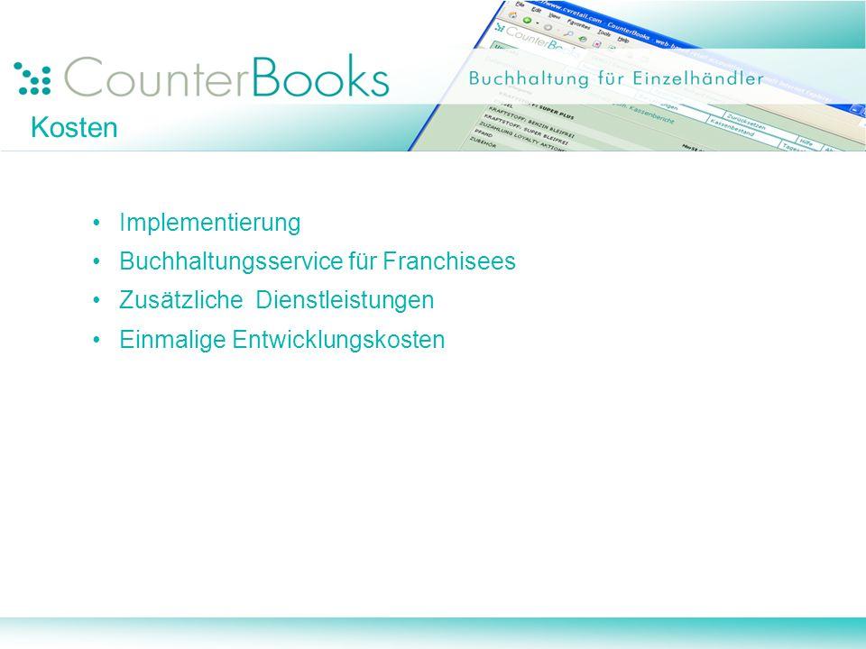 Implementierung Buchhaltungsservice für Franchisees Zusätzliche Dienstleistungen Einmalige Entwicklungskosten