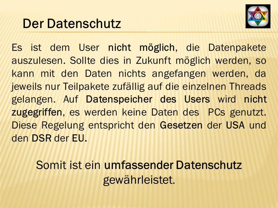 Es ist dem User nicht möglich, die Datenpakete auszulesen.