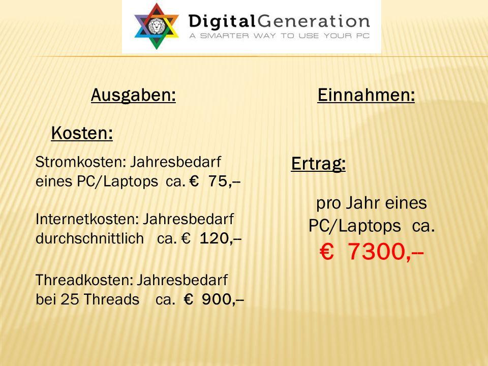 Ausgaben:Einnahmen: Kosten: Stromkosten: Jahresbedarf eines PC/Laptops ca.