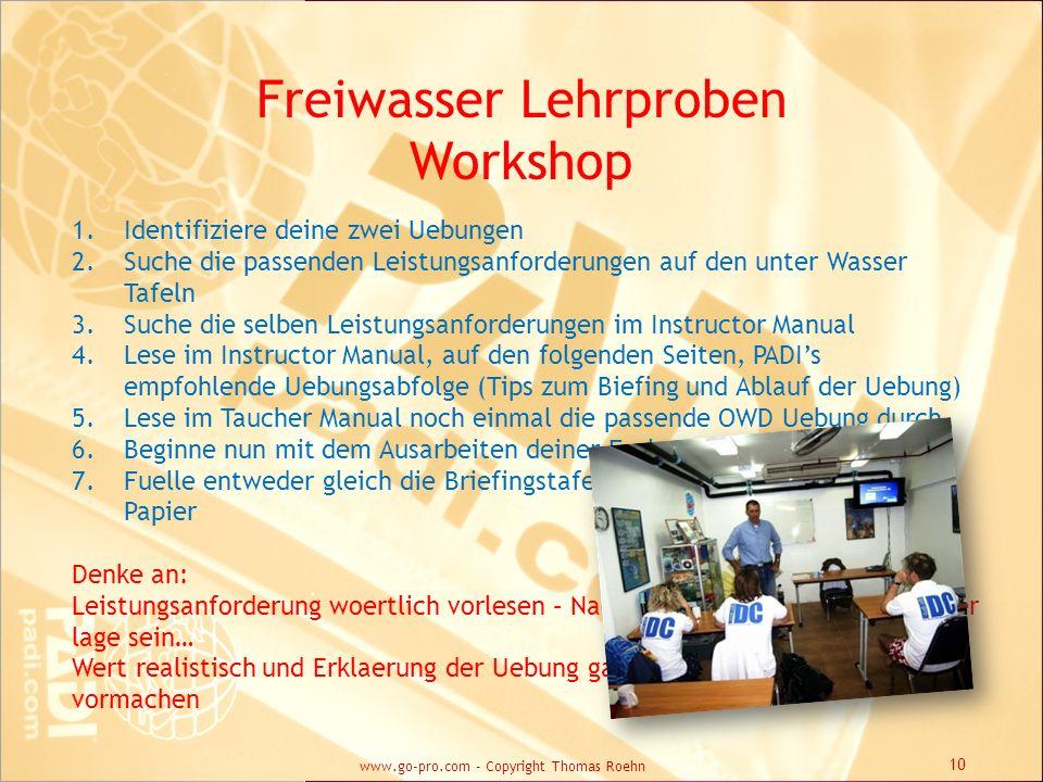 Freiwasser Lehrproben Workshop 1.Identifiziere deine zwei Uebungen 2.Suche die passenden Leistungsanforderungen auf den unter Wasser Tafeln 3.Suche di