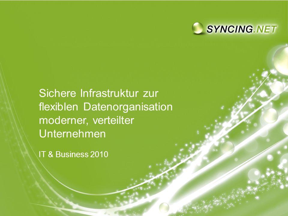 SYNCING.NET auf der IT & Business 2010 - Sichere Infrastruktur moderner, verteilter UnternehmenSeite 1 1 Sichere Infrastruktur zur flexiblen Datenorganisation moderner, verteilter Unternehmen IT & Business 2010