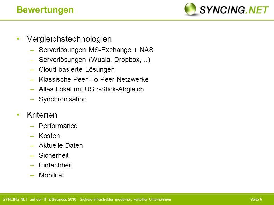 SYNCING.NET auf der IT & Business 2010 - Sichere Infrastruktur moderner, verteilter UnternehmenSeite 6 Bewertungen Vergleichstechnologien –Serverlösungen MS-Exchange + NAS –Serverlösungen (Wuala, Dropbox,..) –Cloud-basierte Lösungen –Klassische Peer-To-Peer-Netzwerke –Alles Lokal mit USB-Stick-Abgleich –Synchronisation Kriterien –Performance –Kosten –Aktuelle Daten –Sicherheit –Einfachheit –Mobilität