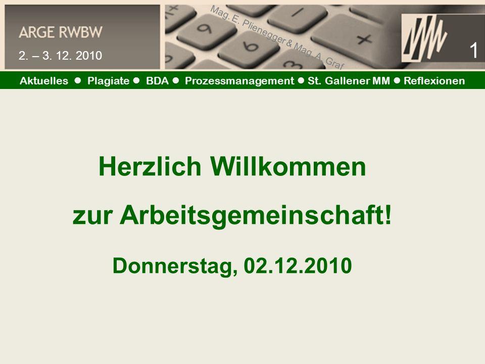 Mag. E. Plienegger & Mag. A. Graf 1 2. – 3. 12. 2010 Aktuelles Plagiate BDA Prozessmanagement St. Gallener MM Reflexionen Herzlich Willkommen zur Arbe
