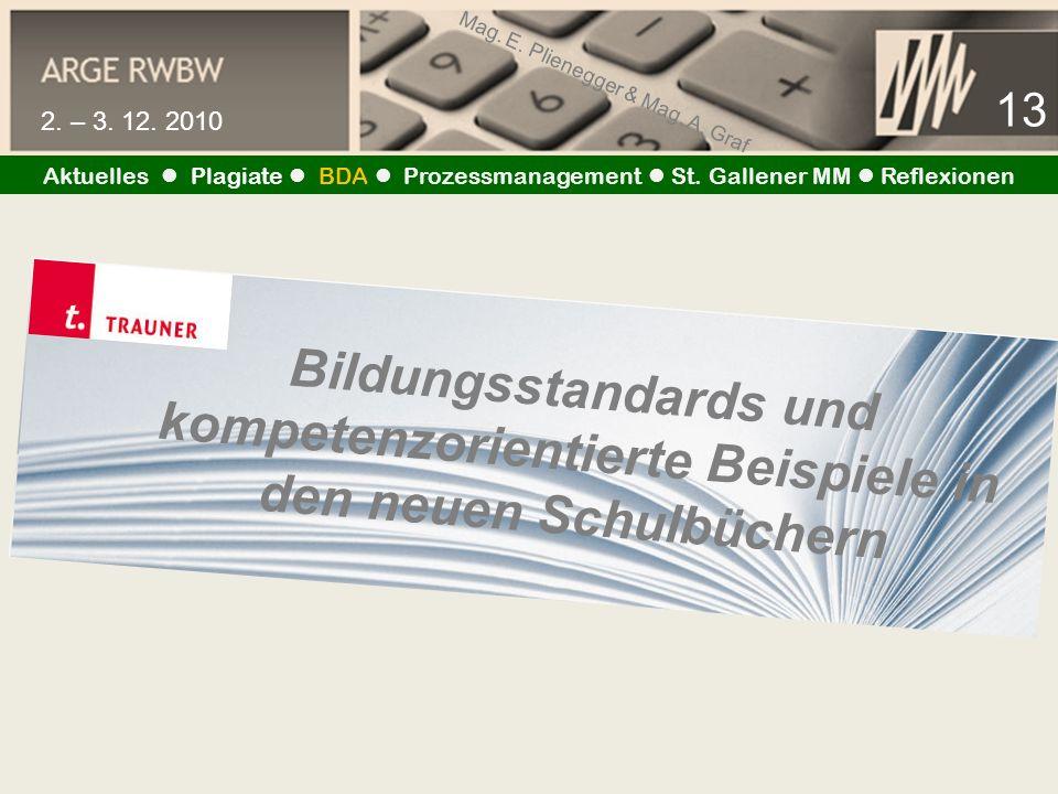 Mag. E. Plienegger & Mag. A. Graf 13 2. – 3. 12. 2010 Aktuelles Plagiate BDA Prozessmanagement St. Gallener MM Reflexionen Bildungsstandards und kompe