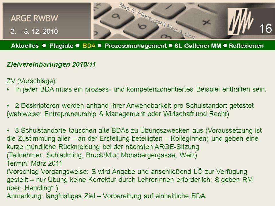 Mag. E. Plienegger & Mag. A. Graf 16 2. – 3. 12. 2010 Aktuelles Plagiate BDA Prozessmanagement St. Gallener MM Reflexionen Zielvereinbarungen 2010/11