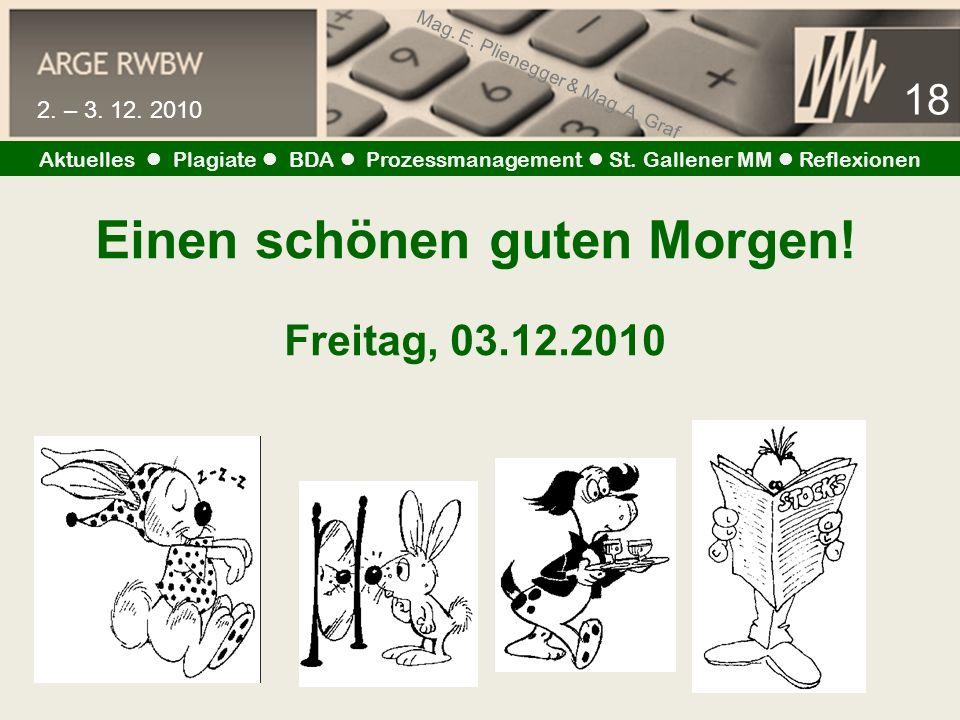 Mag. E. Plienegger & Mag. A. Graf 18 2. – 3. 12. 2010 Aktuelles Plagiate BDA Prozessmanagement St. Gallener MM Reflexionen Einen schönen guten Morgen!
