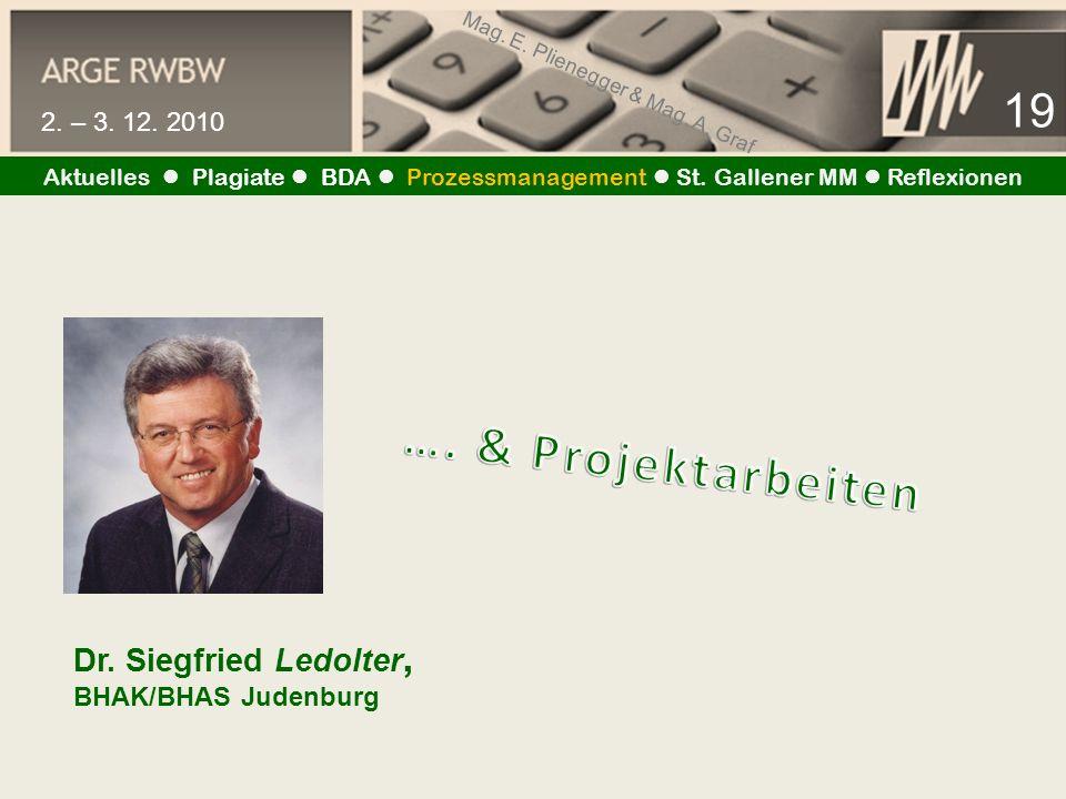 Mag. E. Plienegger & Mag. A. Graf 19 2. – 3. 12. 2010 Aktuelles Plagiate BDA Prozessmanagement St. Gallener MM Reflexionen Dr. Siegfried Ledolter, BHA