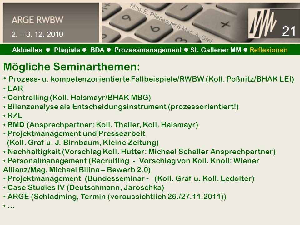 Mag. E. Plienegger & Mag. A. Graf 21 2. – 3. 12. 2010 Aktuelles Plagiate BDA Prozessmanagement St. Gallener MM Reflexionen Mögliche Seminarthemen: Pro