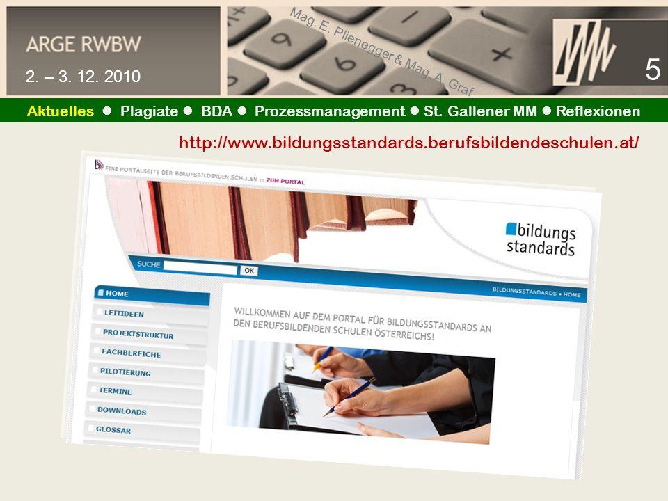 Mag.E. Plienegger & Mag. A. Graf 6 2. – 3. 12. 2010 Aktuelles Plagiate BDA Prozessmanagement St.