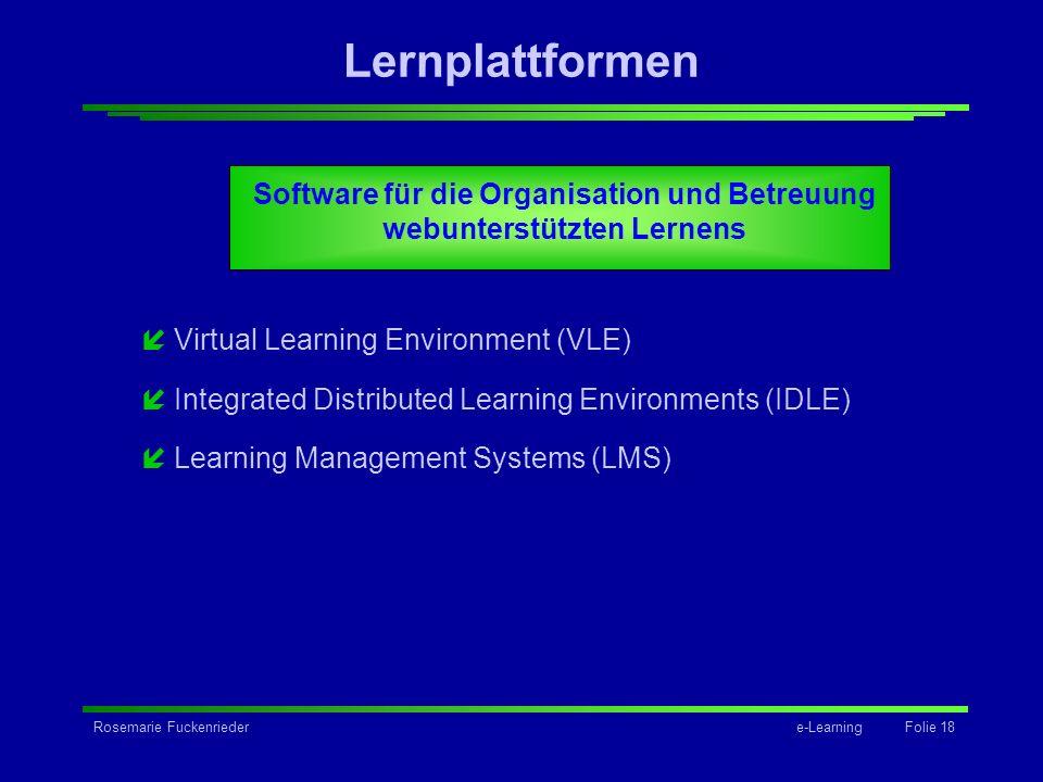 Rosemarie Fuckenriedere-Learning Folie 18 Lernplattformen Software für die Organisation und Betreuung webunterstützten Lernens íVirtual Learning Envir