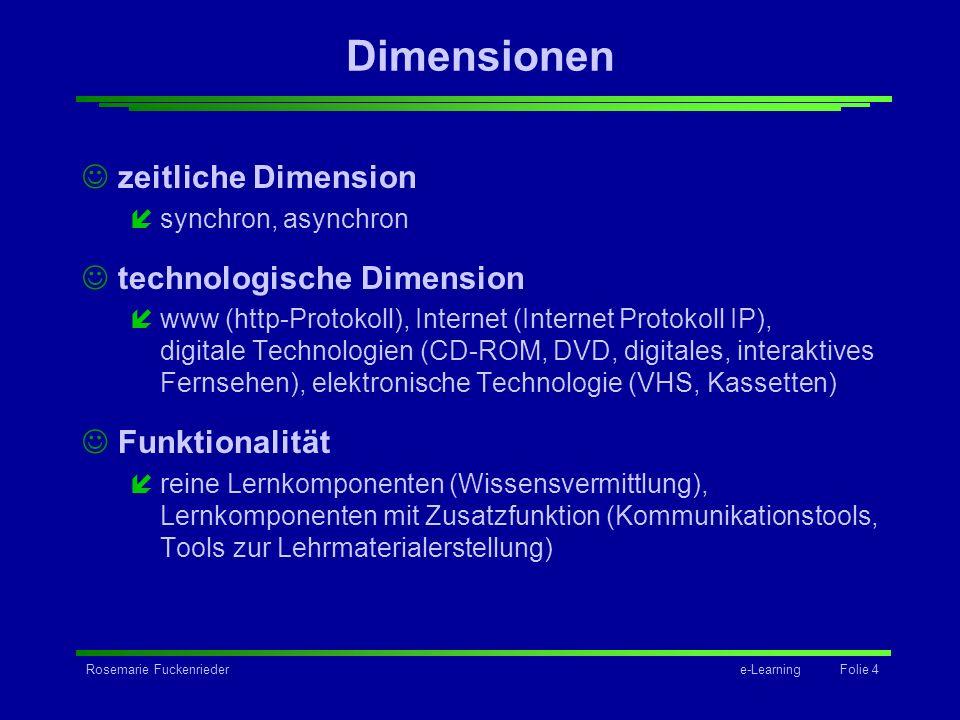 Rosemarie Fuckenriedere-Learning Folie 4 Dimensionen zeitliche Dimension ísynchron, asynchron technologische Dimension íwww (http-Protokoll), Internet
