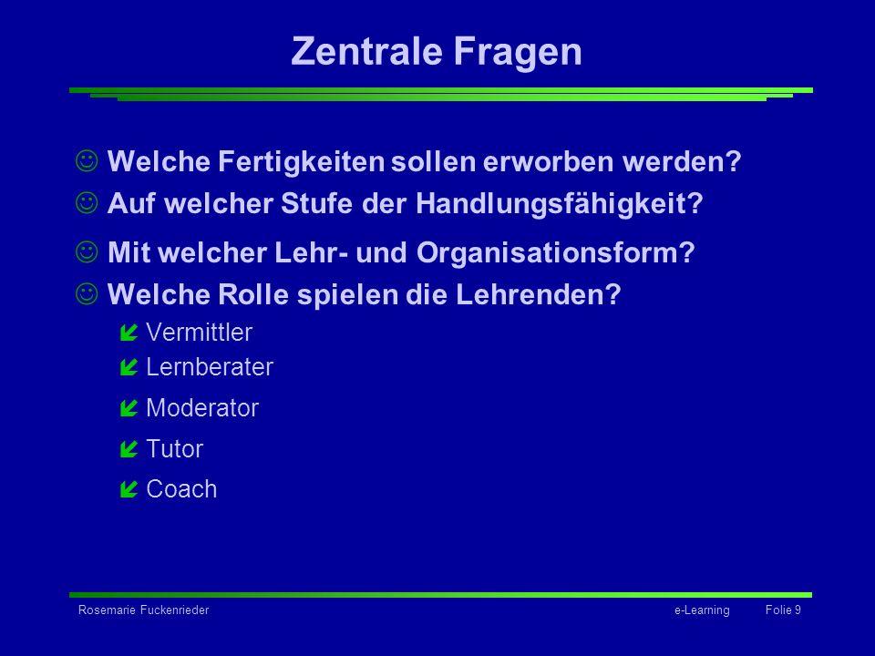 Rosemarie Fuckenriedere-Learning Folie 9 Zentrale Fragen Welche Fertigkeiten sollen erworben werden? Auf welcher Stufe der Handlungsfähigkeit? Mit wel