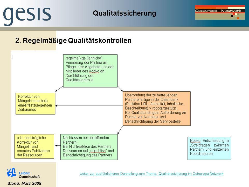 Qualitätssicherung 2. Regelmäßige Qualitätskontrollen Stand: März 2008 weiter zur ausführlicheren Darstellung zum Thema: Qualitätssicherung im Osteuro