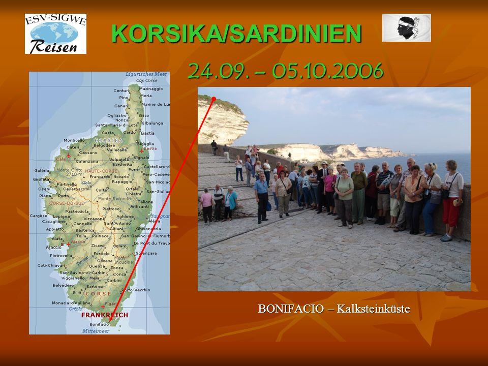 KORSIKA/SARDINIEN BONIFACIO – Kalksteinküste 24.09. – 05.10.2006
