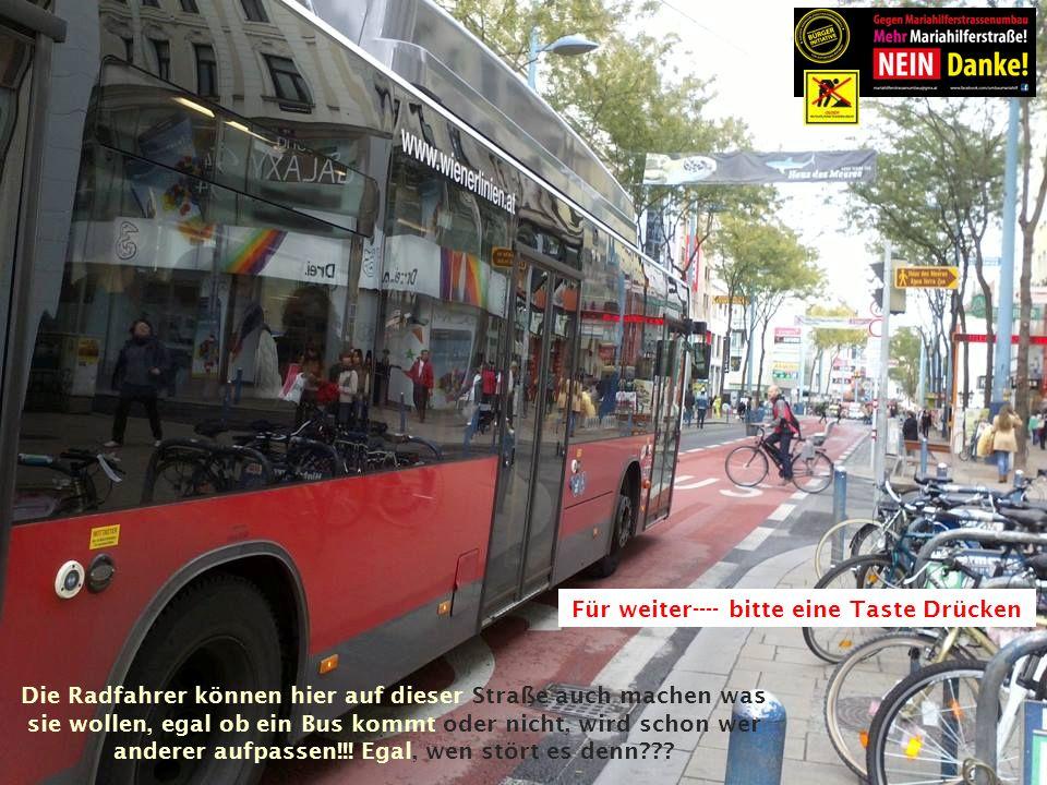 Die Radfahrer können hier auf dieser Straße auch machen was sie wollen, egal ob ein Bus kommt oder nicht, wird schon wer anderer aufpassen!!.