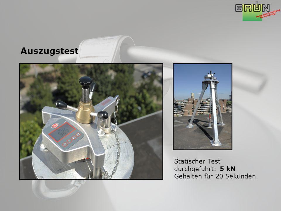 Auszugstest Statischer Test durchgeführt: 5 kN Gehalten für 20 Sekunden